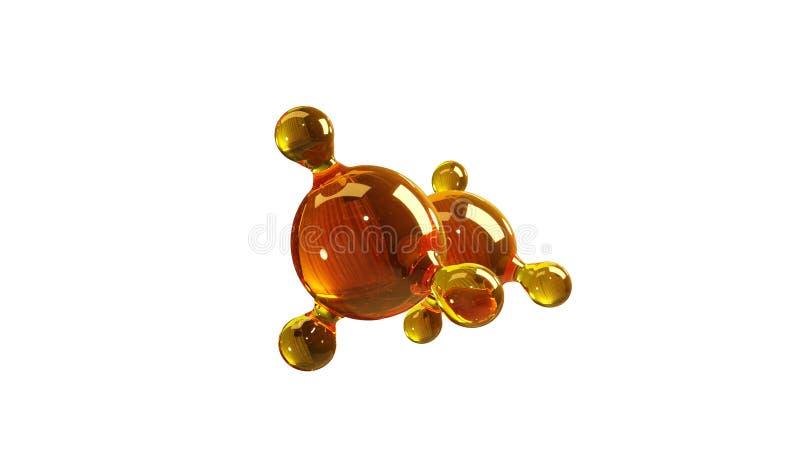 ejemplo de la representación 3d del modelo de cristal de la molécula Molécula del aceite Concepto de aceite o de gas de motor del libre illustration