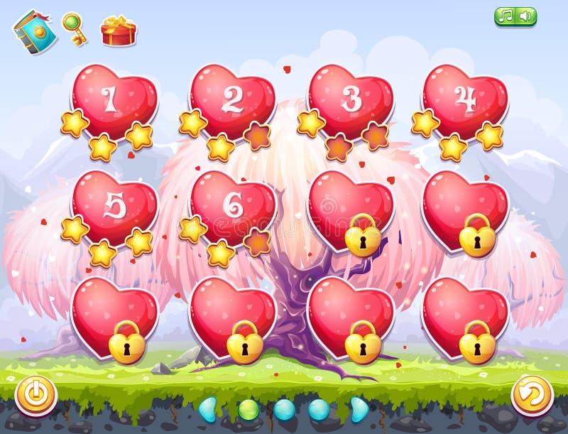 Ejemplo de la selección de niveles en el día de tarjeta del día de San Valentín del tema ilustración del vector