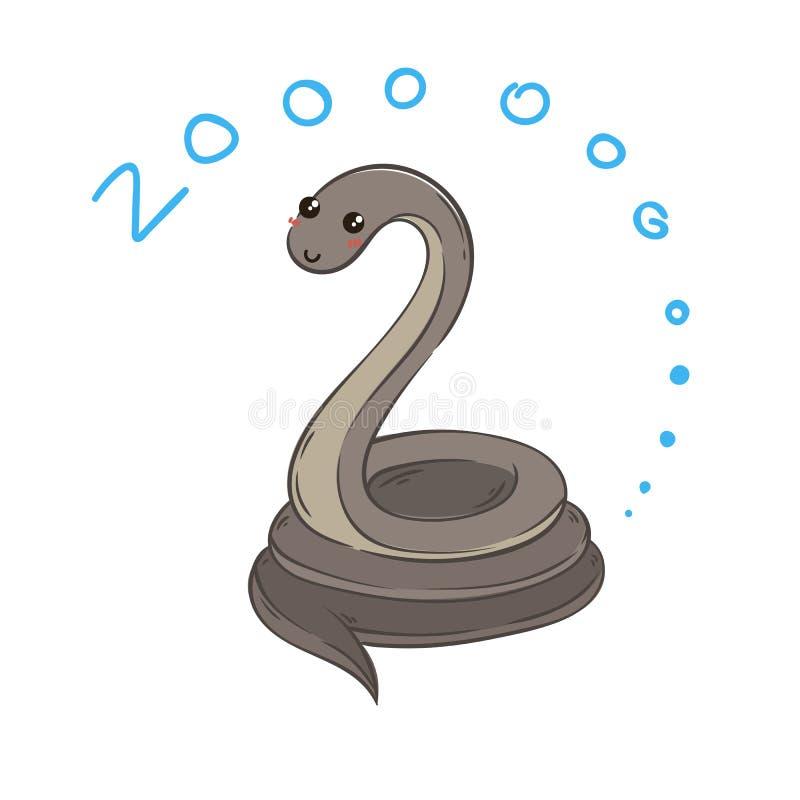 Ejemplo de la serpiente linda del garabato, gráfico dibujado mano libre illustration