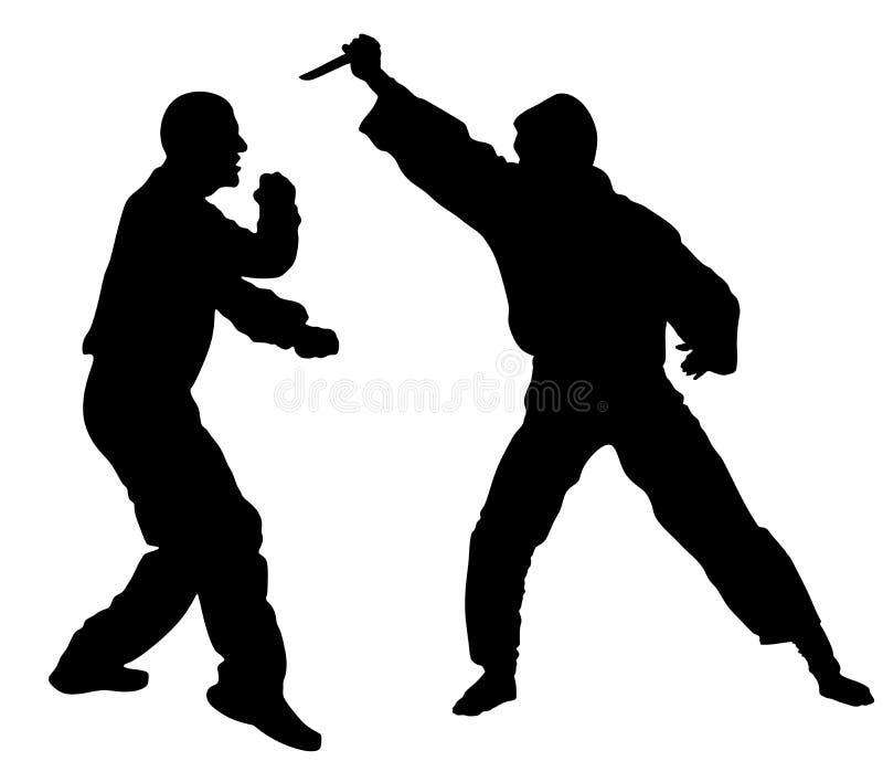 Ejemplo de la silueta de la batalla de la autodefensa Hombre que lucha contra agresor con el cuchillo libre illustration