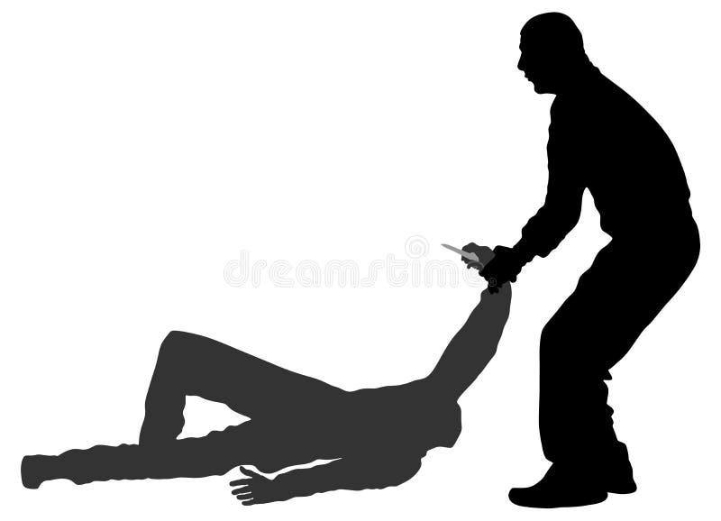 Ejemplo de la silueta de la batalla de la autodefensa Hombre que lucha contra agresor con el cuchillo ilustración del vector