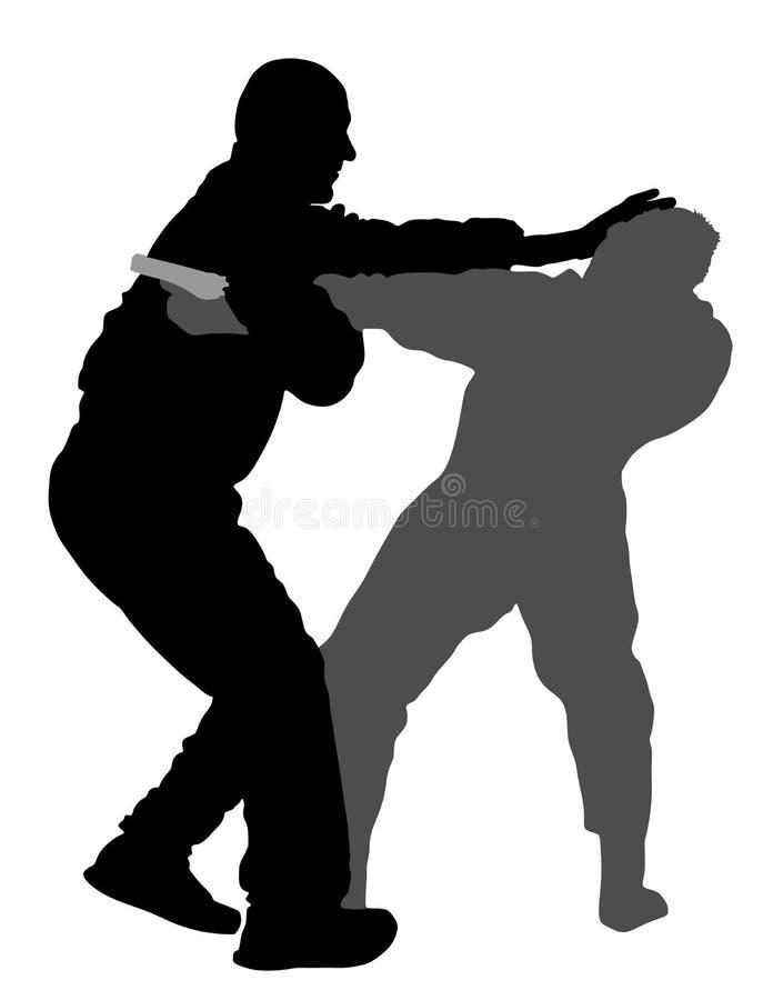 Ejemplo de la silueta de la batalla de la autodefensa Sirva luchar contra agresor con el arma o la pistola stock de ilustración