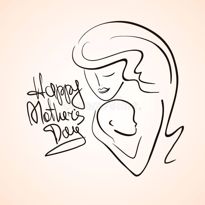 Ejemplo de la silueta de la madre y del niño ilustración del vector