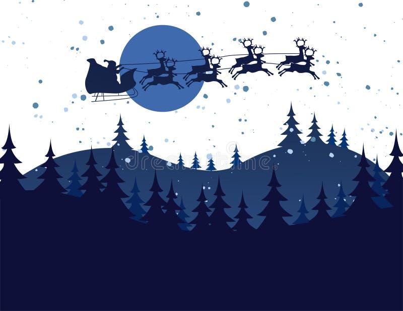 Ejemplo de la silueta de volar Papá Noel stock de ilustración