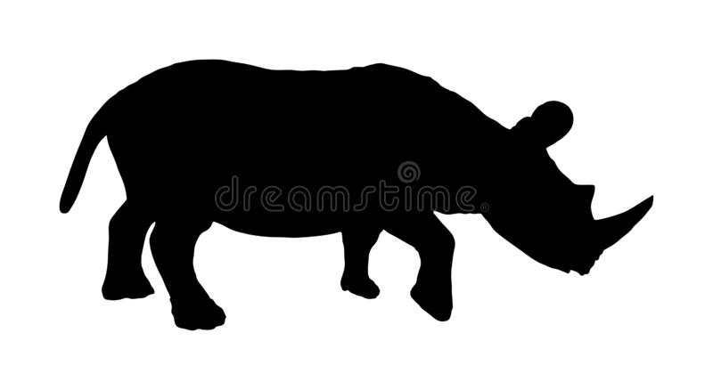 Ejemplo de la silueta del rinoceronte aislado en blanco Silueta del rinoceronte Animal de ?frica