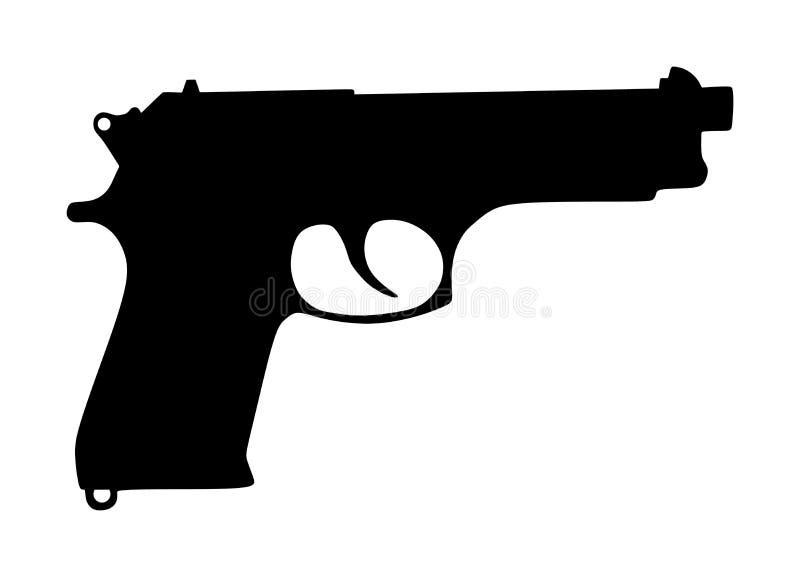 Ejemplo de la silueta del vector del icono del arma de la pistola aislado en blanco Riesgo en la situaci?n del conflicto polic?a  ilustración del vector