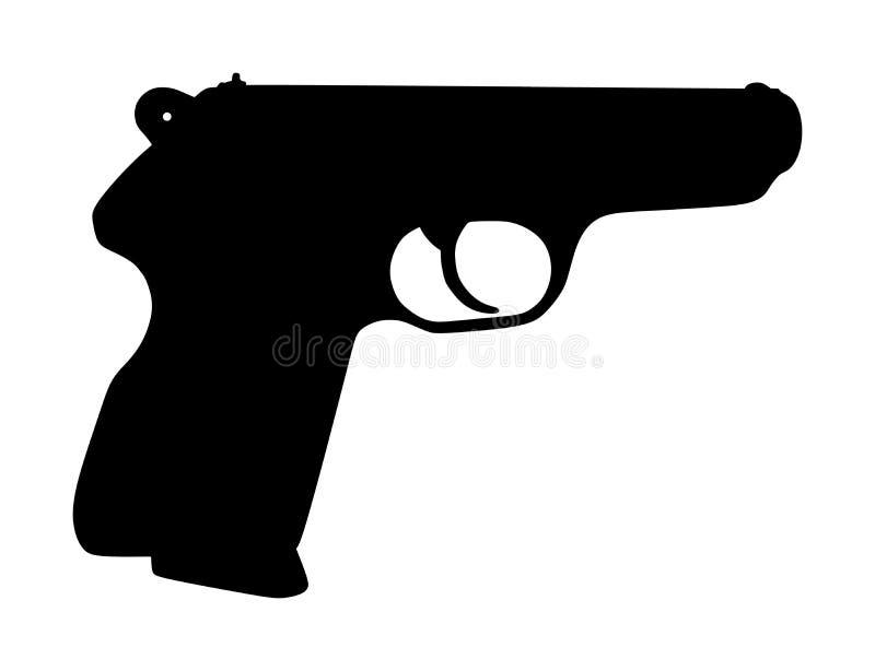Ejemplo de la silueta del vector del icono del arma de la pistola aislado en blanco Riesgo en la situaci?n del conflicto polic?a  libre illustration