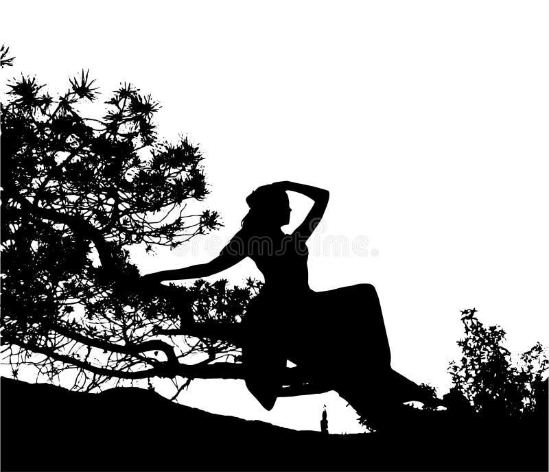 Ejemplo de la silueta del vector de la muchacha atractiva de yang que se sienta en el árbol libre illustration