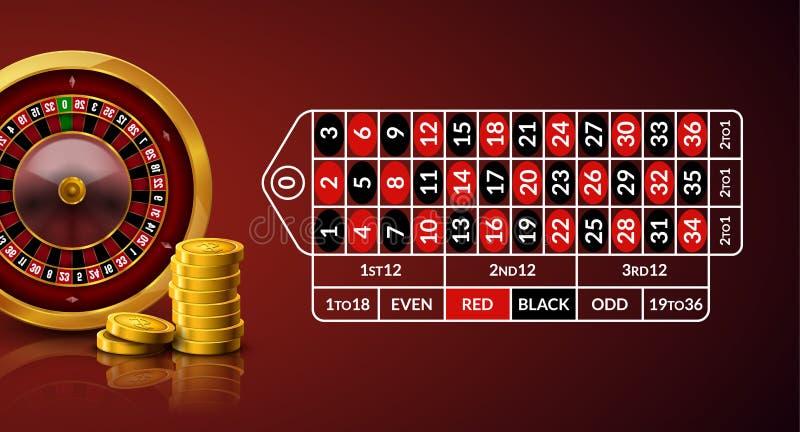Ejemplo de la tabla de la ruleta del casino La tabla de juego verde de la ruleta con números juega monedas y microprocesadores de libre illustration
