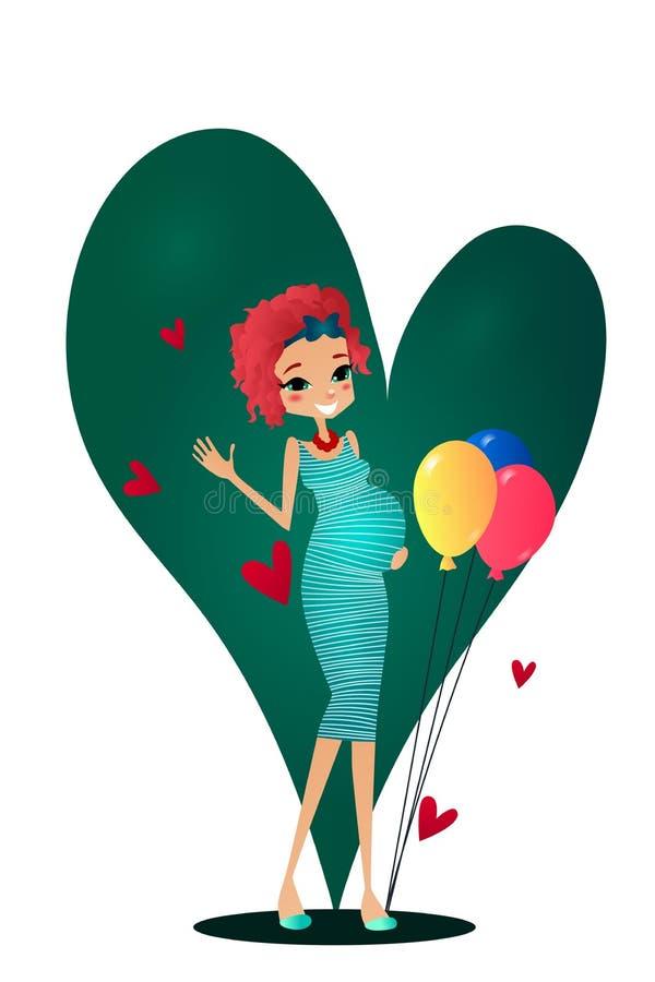 Ejemplo de la tarjeta de felicitación del carácter del embarazo de la historieta del vector libre illustration