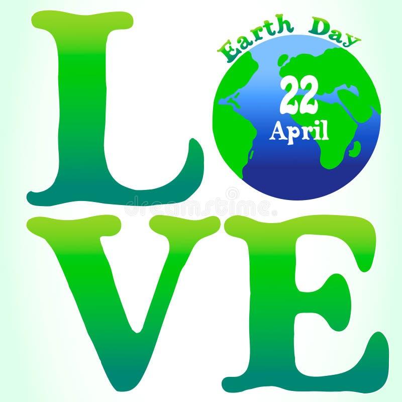 Ejemplo de la tarjeta del Día de la Tierra del amor ilustración del vector