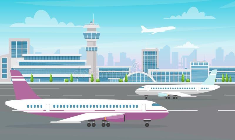 Ejemplo de la terminal de aeropuerto con el avión grande y los aviones que sacan en fondo moderno de la ciudad Historieta plana ilustración del vector