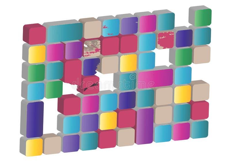 Ejemplo de la textura abstracta con los cuadrados Modele el diseño para la bandera, cartel, aviador, cubierta fotografía de archivo libre de regalías