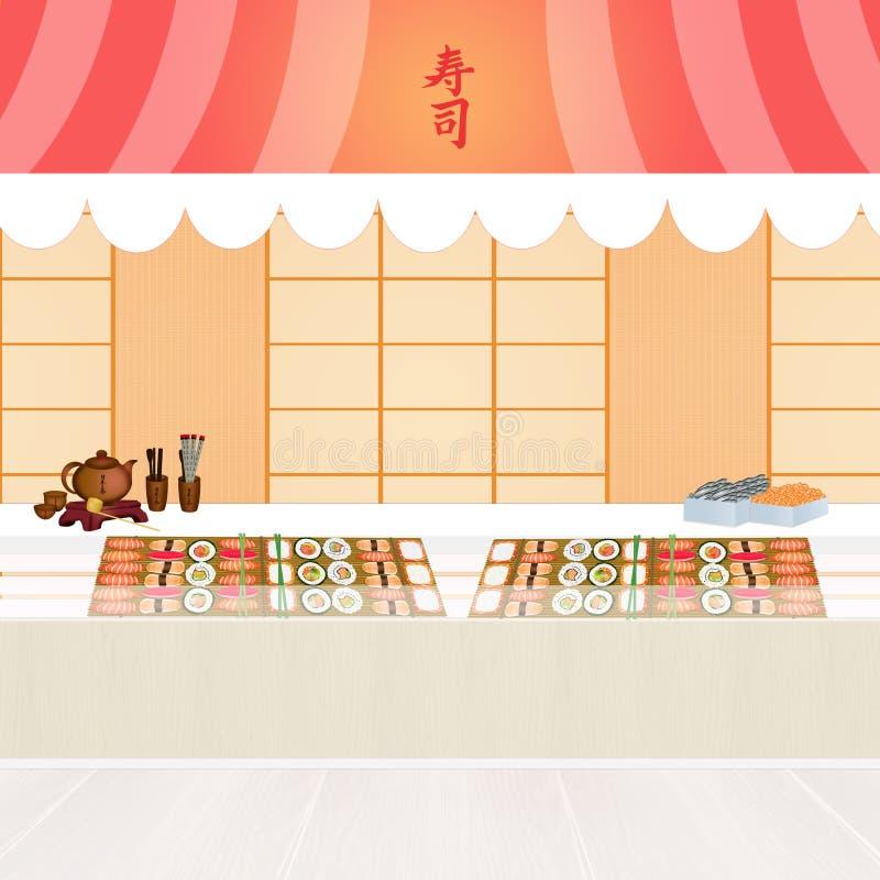 Ejemplo de la tienda del sushi stock de ilustración