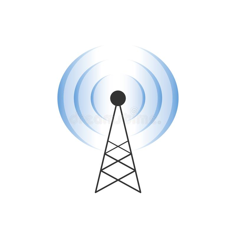 Ejemplo de la torre de comunicación con la onda de Wi-Fi libre illustration