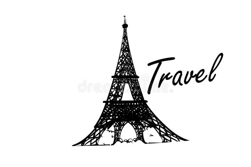 Ejemplo de la torre Eiffel dibujado en un estilo simple del bosquejo Contorno aislado en el fondo blanco imágenes de archivo libres de regalías
