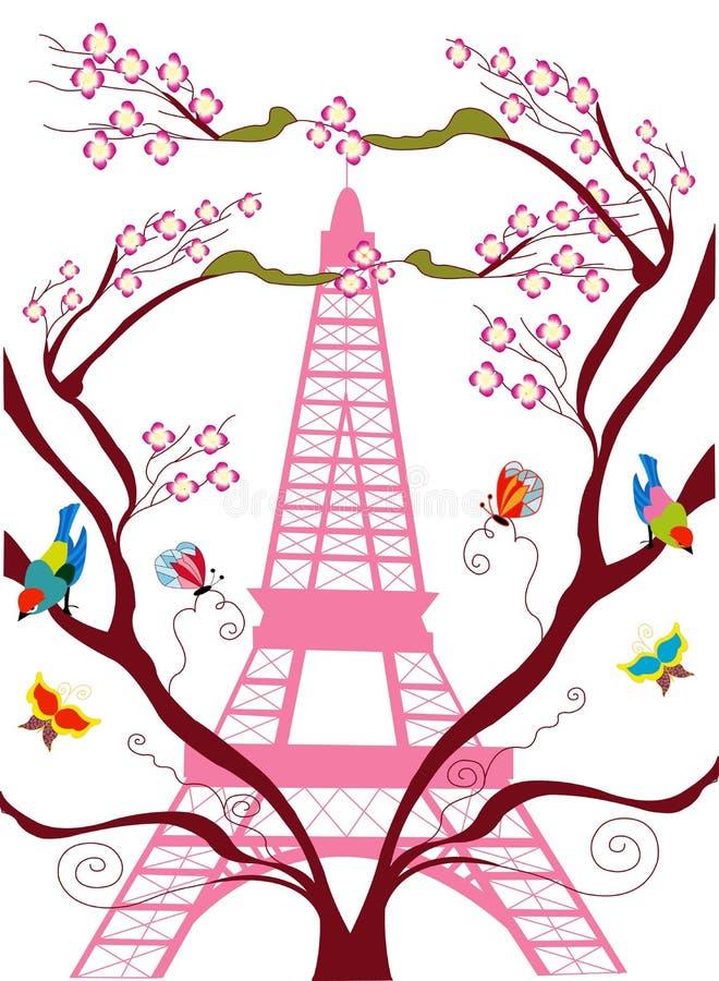 Ejemplo de la torre Eiffel durante tiempo de primavera ilustración del vector