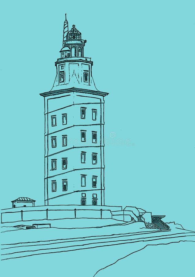 Ejemplo de la torre de Hércules, España stock de ilustración