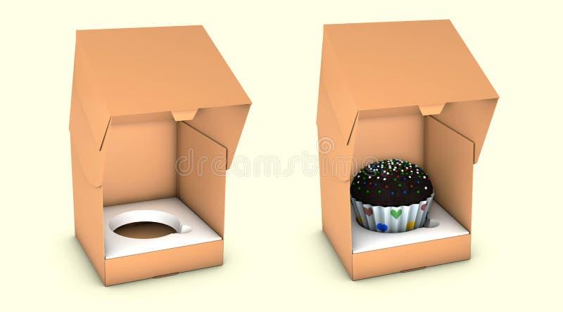 Ejemplo de la torta cuadrada corta Carry Box Packaging de la cartulina En el fondo blanco aislado stock de ilustración