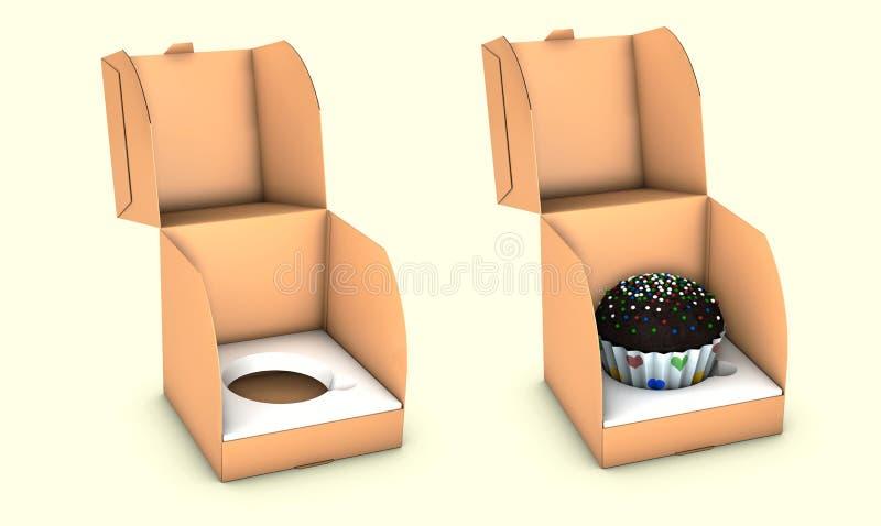 Ejemplo de la torta cuadrada corta Carry Box Packaging de la cartulina En el fondo blanco aislado libre illustration