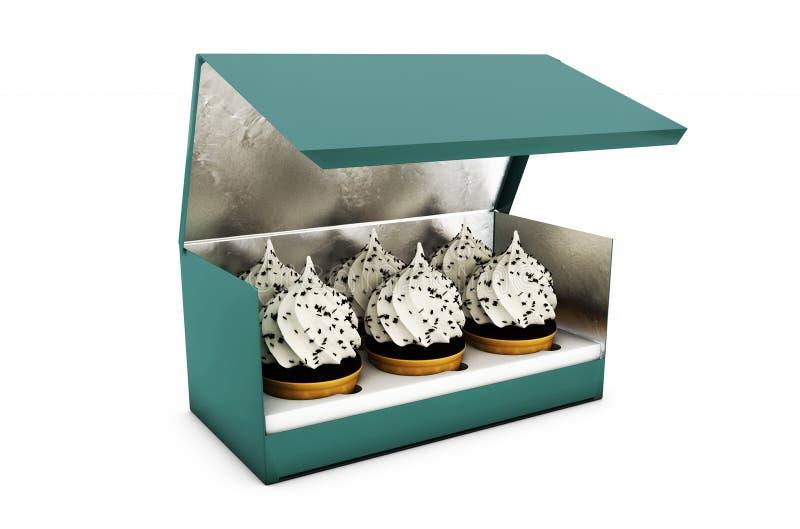 Ejemplo de la torta cuadrada corta Carry Box Packaging de la cartulina En el fondo blanco aislado ilustración del vector