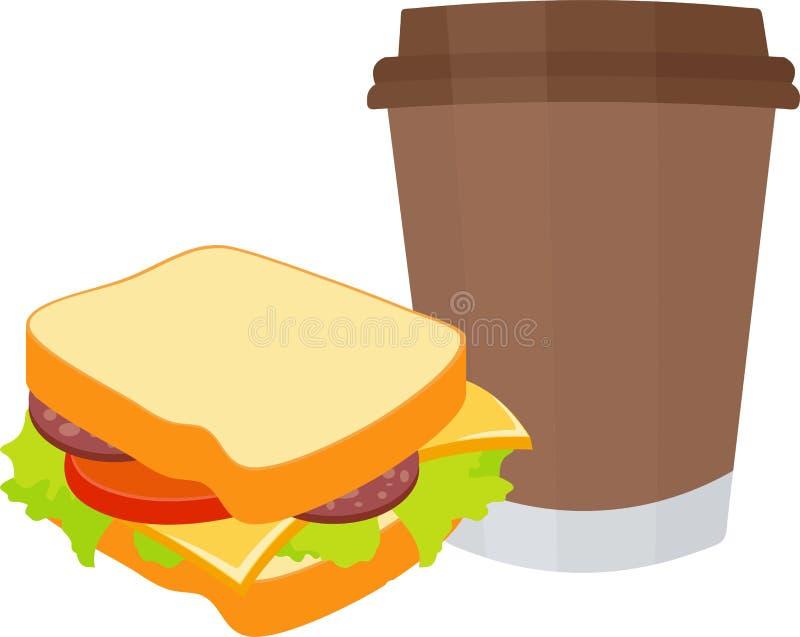 Ejemplo de la trama del bocadillo y del café aislado en el fondo blanco Desayuno y almuerzo ilustración del vector