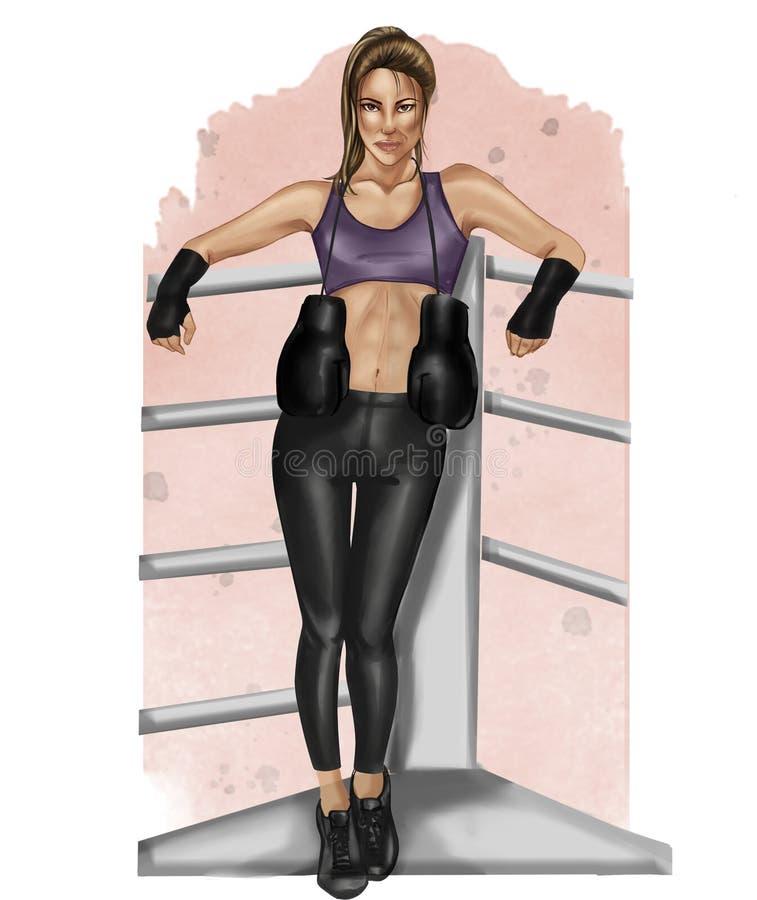 Ejemplo de la trama de la muchacha morena del boxeo en un fondo de la acuarela ilustración del vector