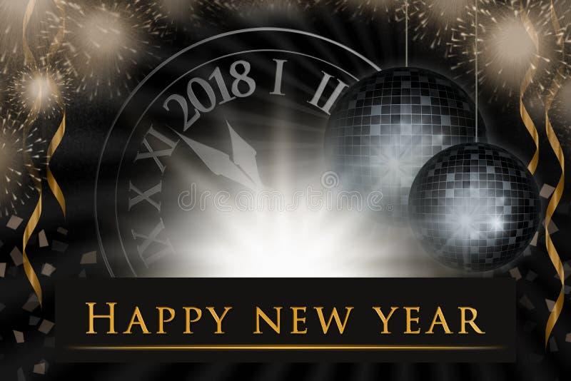 Ejemplo de la víspera del ` s del Año Nuevo, fondo de la celebración con 2018 relojes, fuegos artificiales del partido ilustración del vector