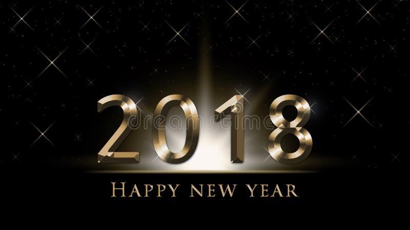 Ejemplo de la víspera del ` s del Año Nuevo 2018, tarjeta con 2018 de oro y texto de la Feliz Año Nuevo en fondo negro libre illustration