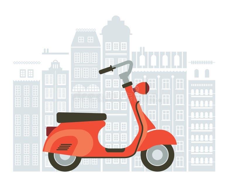 Ejemplo de la vespa en la calle stock de ilustración