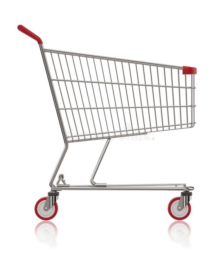 Ejemplo de la vista lateral 3D del carro de la compra stock de ilustración
