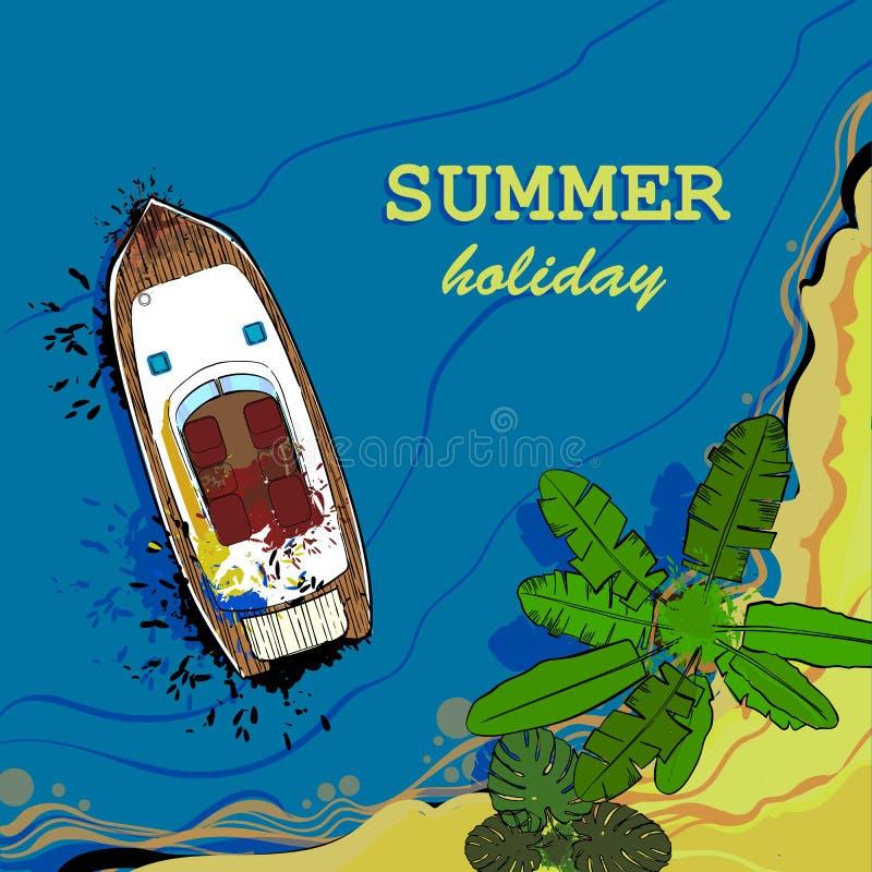 Ejemplo de la vista superior del mar, de la nave y de la playa con la arena, palmas Postal gráfica en estilo de la endecha del pl ilustración del vector
