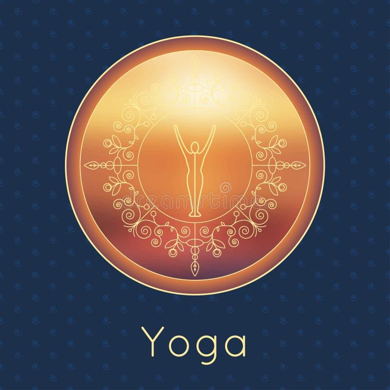 Ejemplo de la yoga del vector Cartel de la yoga con la silueta del ornamento floral y de la yogui Diseño de la identidad para el  libre illustration