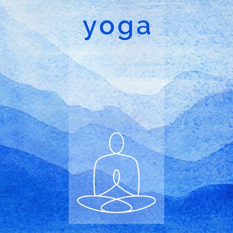 Ejemplo de la yoga del vector Cartel para la clase de la yoga con un contexto de la naturaleza stock de ilustración