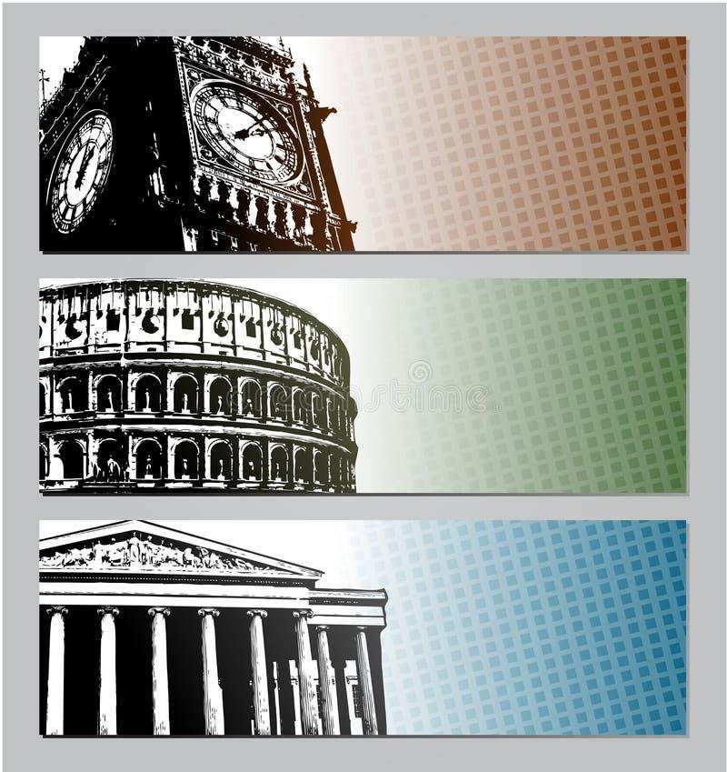 Ejemplo de las banderas del viaje de Europa ilustración del vector