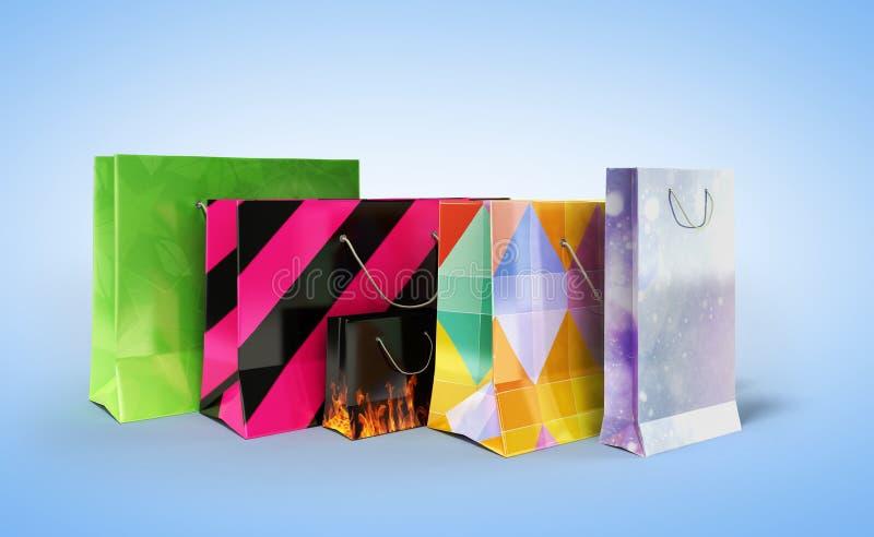Ejemplo de las bolsas de papel 3d de Coloder en azul stock de ilustración