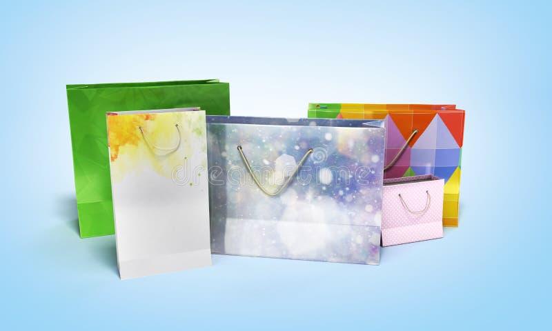 Ejemplo de las bolsas de papel 3d de Coloder en fondo azul libre illustration