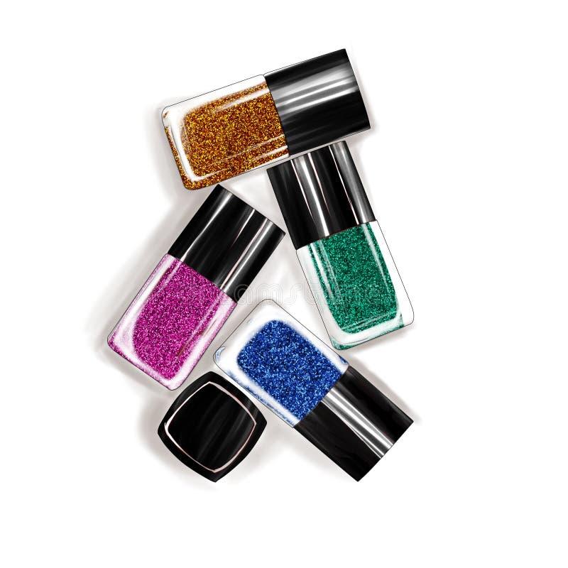 Ejemplo de las botellas del esmalte de uñas stock de ilustración