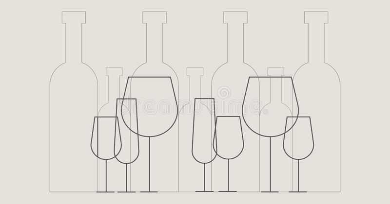 Ejemplo de las botellas y de las copas de vino de vino en estilo del esquema fotos de archivo