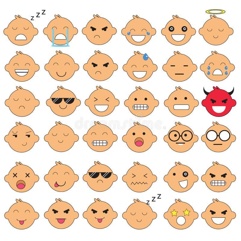 Ejemplo de las caras lindas del bebé que muestran diversas emociones La alegría, tristeza, cólera, el hablar, divertido, teme, so stock de ilustración