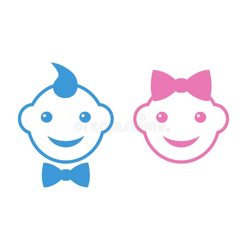 Ejemplo de las caras lindas del bebé de un muchacho y de una muchacha con los arcos libre illustration