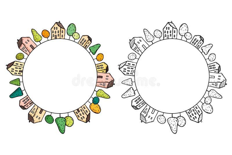 Ejemplo de las casas del garabato en círculo libre illustration