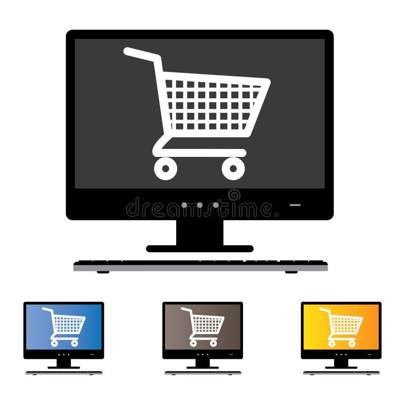 Ejemplo de las compras en línea usando Desktop/PC/Computer ilustración del vector