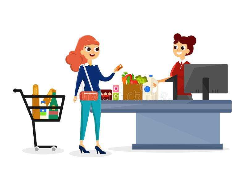 Ejemplo de las compras de la mujer ilustración del vector