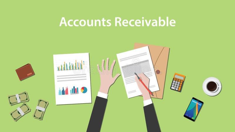 Ejemplo de las cuentas por cobrar con una escritura del hombre en papeleo con el documento del dinero, de la calculadora y de la  ilustración del vector