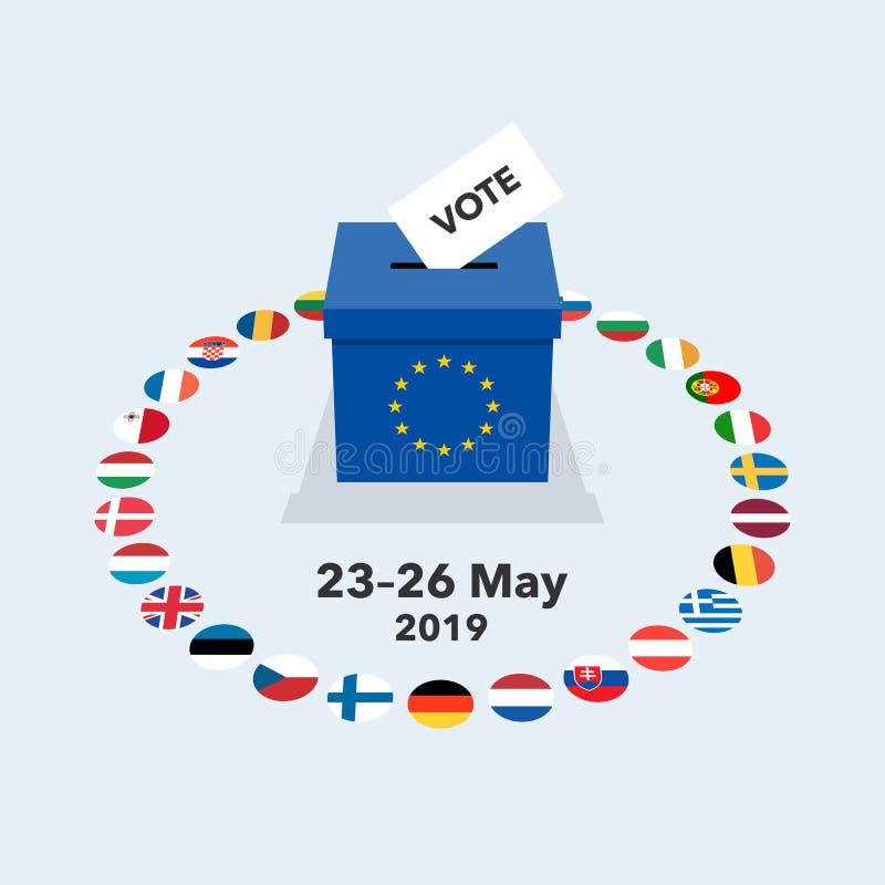 Ejemplo 2019 de las elecciones europeas con el papel de votación en la urna y las banderas nacionales libre illustration