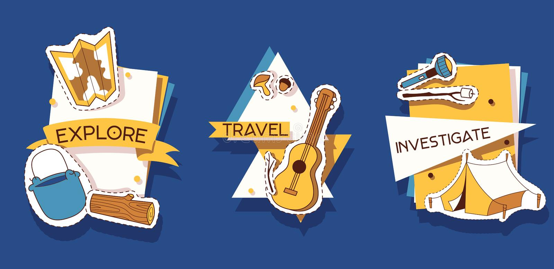 Ejemplo de las etiquetas engomadas que acampa Explore, viaje, investigue Actividades al aire libre Cerca de la naturaleza El cami libre illustration