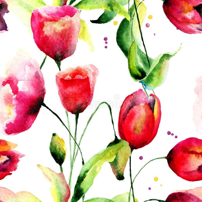 Ejemplo de las flores de los tulipanes y de la amapola libre illustration