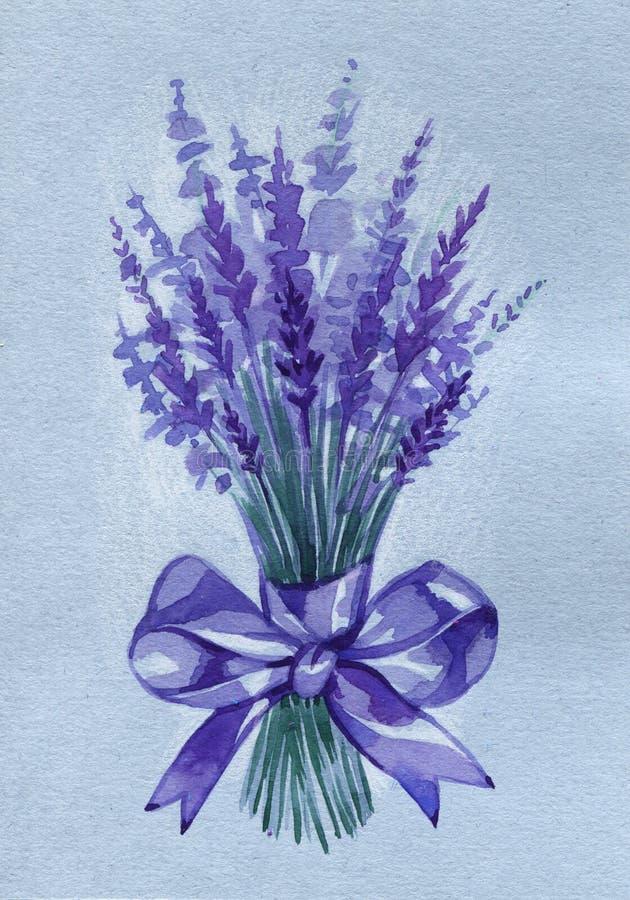 Ejemplo de las flores de la lavanda del ramo de la acuarela en aislado libre illustration