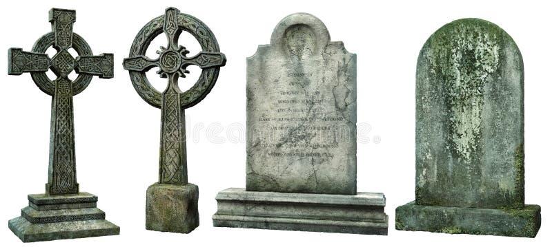 Ejemplo de las lápidas mortuorias 3D stock de ilustración